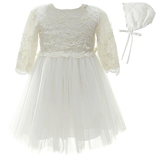 New Girls Christening Baptism Dress - Dream Rover Baby Girl Dress 2PCS Christening Baptism Long Sleeves Dress