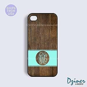 Monogram iPhone 4 4s Case - Wood Print Mint Stripes Circle iPhone Cover