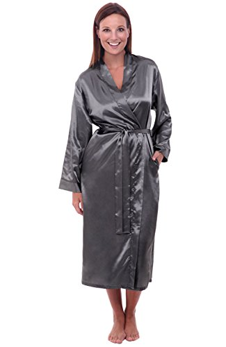 - Alexander Del Rossa Womens Satin Robe, Long Dressing Gown, Small Steel (A0755STLSM)