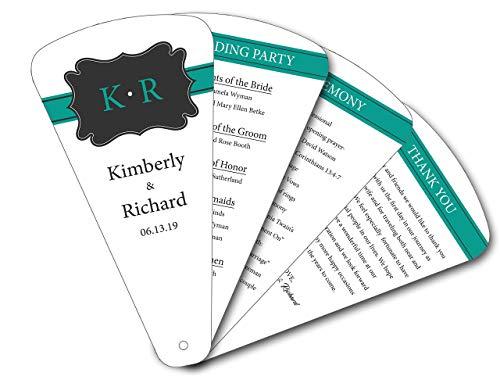 lkboard 4 Petal Wedding Personalized Program Paper Hand Fans - Pivot Die Cut - Set of 20 ()