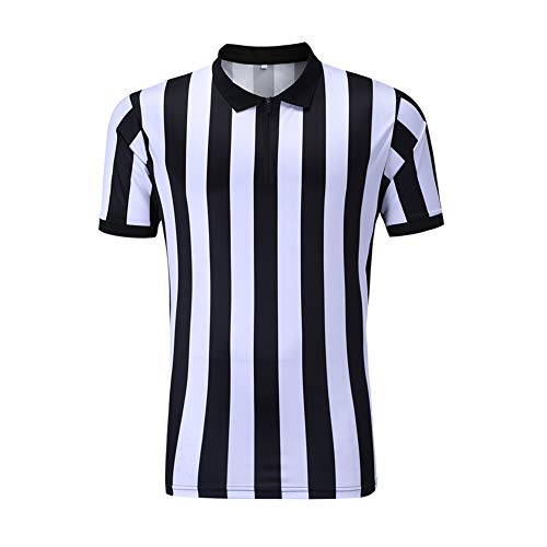 Shinestone Referee Shirts, Men's Basketball Football Soccer Sports Referee Umpire Shirt Referee Shirt Jersey Costume Short Sleeves, Perfect for Outdoor Sports(Zipper-Neck,Medium) -