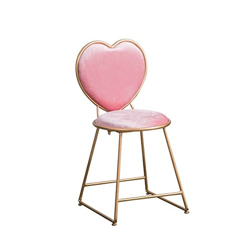 ch-AIR Heart-Shaped Chair, Pink Metal Chair Cosmetic Stool Restaurant Coffee Shop Bar Cake Shop Chair Girl Chair 404580CM