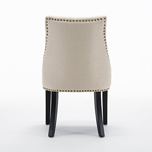 LSSBOUGHT Set of 2 Fabric Dining Chairs Leisure Padded Chairs with Black Solid Wooden Legs,Beige by LSSBOUGHT (Image #4)