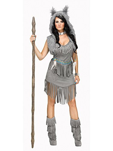 Fun World Women's Wolf Dancer Costume, Grey, Medium/Large