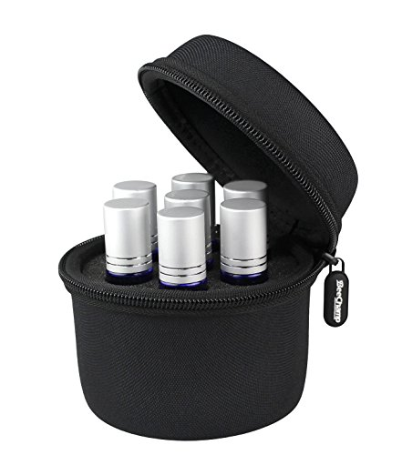 BeeChamp Best Essential Oil Roller Bottle Carrying Travel Case for 7pcs 10ml Bottles (Black)