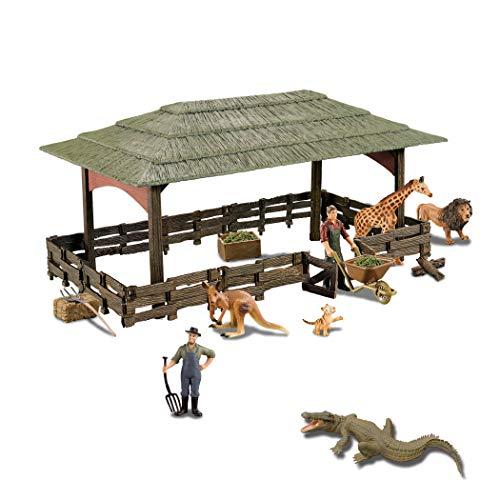 Disoooo 지육 장난감 동물 모형 동물 개러지 키트 캐릭터 모델1세트의 하우스 악어 기린 도장 모델 아이 생일 선물