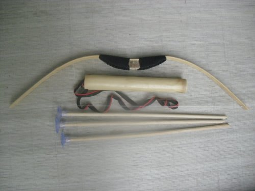 train play Kid child Bamboo & Wood Bow and Arrow & Quiver Set 3 safe ARROWS by newnews (Image #3)