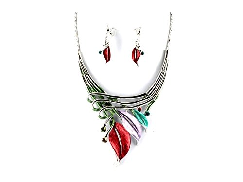 - Etched Metal Leaf Art Deco Style Collar Necklace Stud Earrings Set (Light Multi-Colored)