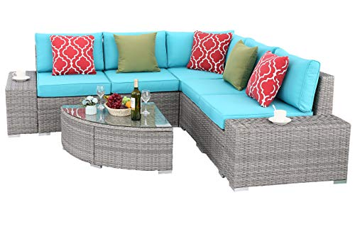 Do4U 6 PCs Outdoor Patio PE Rattan Wicker Sofa Sectional Furniture Set Conversation Set- Thick Seat Cushions & Glass Coffee Table| Patio, Backyard, Pool| Steel Frame (Turquoise) -  - patio-furniture, patio, conversation-sets - 414hVCC 3BL -