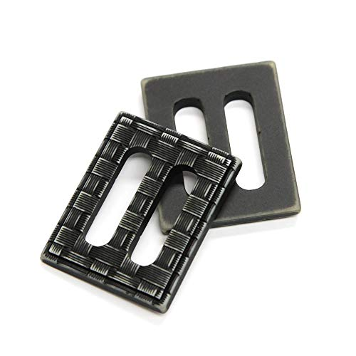 CLARK Aged Black Woven-Look Rectangular Buckle, 30mm, Made in Italy