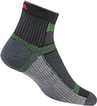 (Wigwam Ultra Cool-Lite Quarter Sock - Black,Grey and green, Unisex, XL)