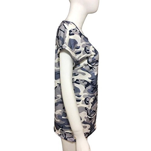 Women's Tops,Neartime Short Sleeve Camouflage T-Shirt With Fake Pocket (XL, Camouflage) Photo #2