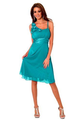 H1350 Teal ärmel Floral Designer Empire-Taille Sheer Overlay knielangen Cocktail-Abend-Partei-Brautjungfer Abendkleid [Color Teal UK SIZE Medium (10-12) DEUTSCHLAND SIZE (38-40)]