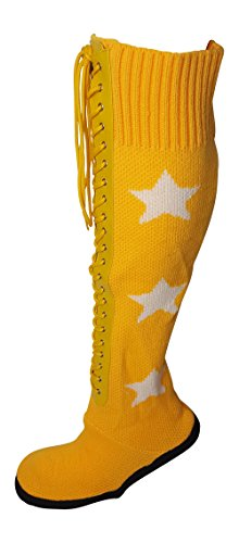 Pro Wrestling Costume Boot Slippers-L-Yellow