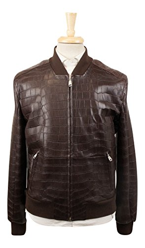 Brioni Brown Crocodile Leather with Mink Fur Bomber Jacket Size 50/40 (Brioni Jacket)
