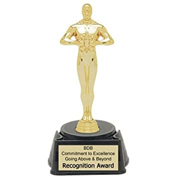 Amazon Com Achievement Oscar Figure Trophy With  Lines Of Custom Text Sports Award Trophies Sports Outdoors