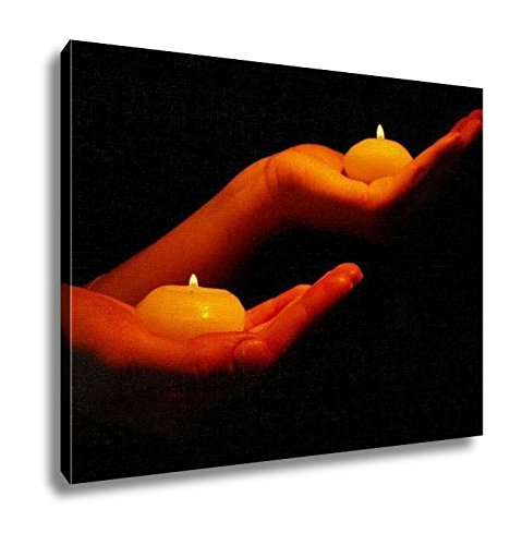 Ashley Canvas, Burning Candles In Hands Isolated On Black, Kitchen Bedroom Dining Living Room Art, 24x30, AG6514348 by Ashley Canvas