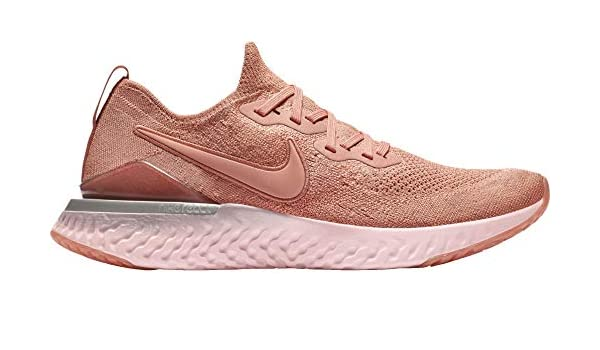 nike running epic react flyknit sneakers in white and rose gold