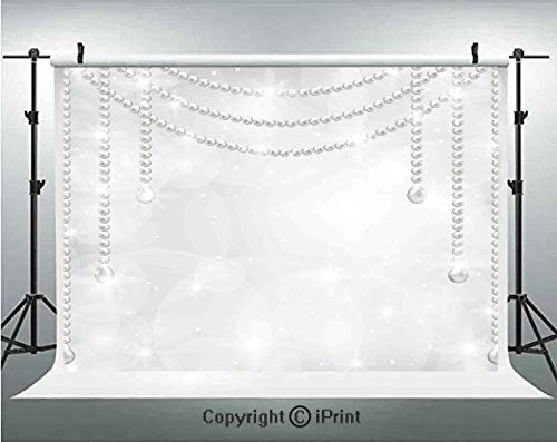 Pearls Decoration Photography Backdrops Diamonds Stones Pearls Hanging Necklace Luxury Bridal Decor Image,Birthday Party Background Customized Microfiber Photo Studio Props,8x8ft,Grey White