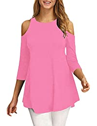 Womens Cold Shoulder Half Sleeve Swing Tunic Tops For Leggings
