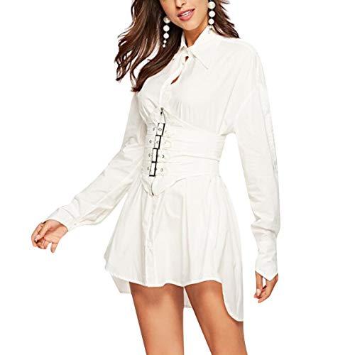 White Las Irregular Camisa Manga Cintura Solapa Mujeres De Alta Rock Botón Larga Delgada Vestido Puck ax61WnU