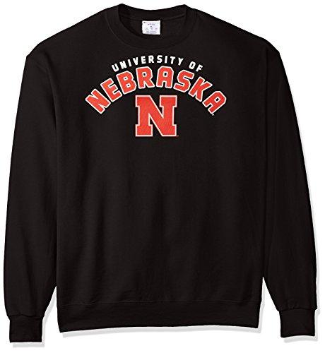 Nebraska Crew Sweatshirt - Champion NCAA Nebraska Cornhuskers Men's Power Blend Fleece Crew Neck Sweatshirt, X-Large, Black