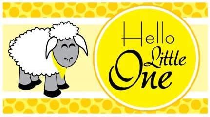 Amazon Com Victorystore Baby Shower Decorations Hello Little One Baby Shower Banner Baby Sheep Waterproof Vinyl Banner Yellow 4 Feet Tall Home Kitchen