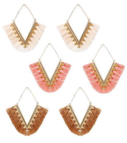 3 Pairs Silky Thread Fan Tassel Statement Drop Earrings-V Shaped Bohemian Handmade Geometric Triangle White Pink Fringe Earrings pack set for Women (3 pairs)