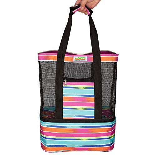 (Striped Mesh Beach Bags and Totes With Cooler Extra Large Capacity For Women Waterproof Zipper Picnic Travel Colorful Gifts)