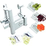 5 Blade Spiralizer - Best Vegetable Maker, Spiral Slicer, Peeler, and Shredder You'll Ever Use! Makes Zucchini Noodles, Veggie Spaghetti, Pasta, and Cut Vegetables in Minutes.