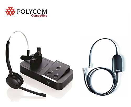 Polycom Certified Jabra PRO 9450 Midi Wireless Headset EHS (remote answer) Bundle Polycom 335 430 450 550 560 650 670 VVX 101 VVX 201 VVX 300 VVX 310 VVX 400 VVX 410 VVX 500 VVX 600 VVX 1500