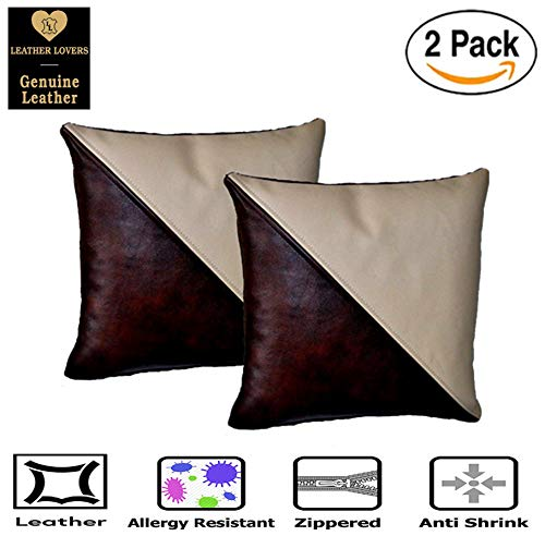 Leather Lovers 100% Lambskin Leather Pillow Cover - Sofa Cushion Case - Decorative Throw Covers for Living Room & Bedroom - 16x16 Inches - Tan Grey Pack of 2