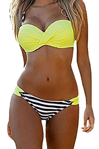 Podlily Women's Summer Beach Two Pieces Halter Push Up Padded Low-Rise Bikini Set Stripes Swimsuit Small Yellow