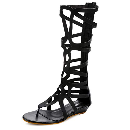 Odema Women's Roman Cut Out Knee High Strappy
