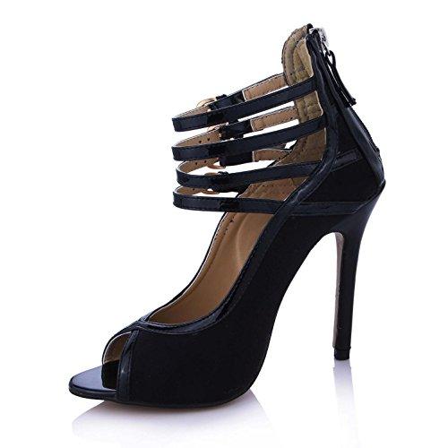 KUKIE Best 4U? Sandalias de verano elásticas de terciopelo premium de poliuretano de 12 cm de tacón alto, suela de goma para zapatos negros