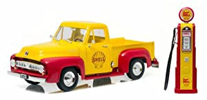 1953 Ford F-100 Pickup Truck Shell Oil with Vintage Gas Pump 1/18 Model Car by Greenlight