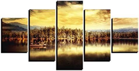 JIAJIAFU Impresiones De Lienzo Reflejo del cielo 200x100cm Arte De Pared Impresión de Pintura Al óleo Pintura Decorativa Abstracta en sobre Lienzo Arte De Pared para Dormitorio Cuadros modulares image