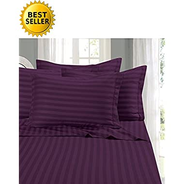 Elegant Comfort #1 RATED Bed Sheet Set on Amazon - Silky Soft - 1500 Thread Count Egyptian Quality Luxurious Wrinkle, Fade, Stain Resistant 6-Piece STRIPE Bed Sheet Set, King Purple