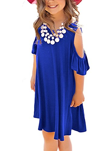 (KIDVOVOU Girls Casual Cold Shoulder Ruffle Sleeves Tunic Swing Dresses Size)