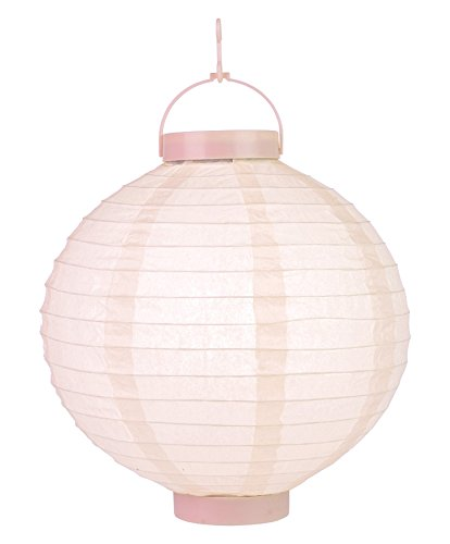 PaperLanternStore.com 10'' Rose Quartz Pink 16 LED Round Battery Operated Paper Lantern w/Built-in Light-Up Switch