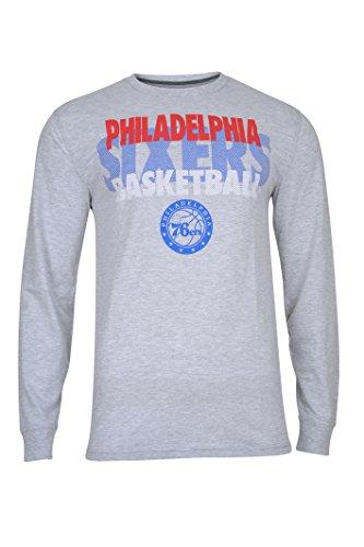 NBA Philadelphia 76ers Men's T-Shirt Supreme Long Sleeve Pullover Tee Shirt, Large, Gray