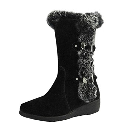 GBSELL Women's Winter Boots Mid Calf Warm Winter High Heel Shoes (6, Black) by GBSELL