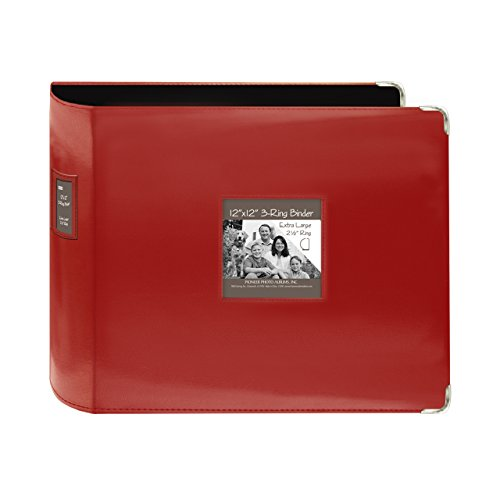 Pioneer 12-Inch by 12-Inch Sewn Leatherette 3-Ring Binder, Red