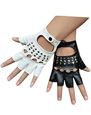 Minibee Women's Fingerless Rivets Cycling Rock Punk Street Gloves A Pair