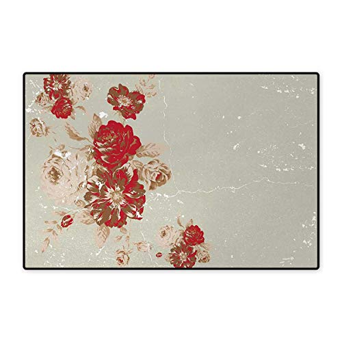 Antique,Bath Mat,Vintage Style Rose Print on Marble Pattern Floral Antique Design Garden Plants,Door Mats Area Rug,Beige Cream Red 16