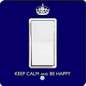 Rikki Knight Keep Calm be Happy Single Rocker Light Switch Plate, Blue