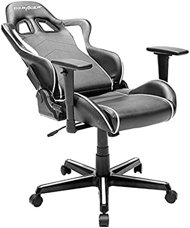 DXRacer OHFH08NW F08 NW Stuhl, Mikrofaser, SchwarzWeiß, M