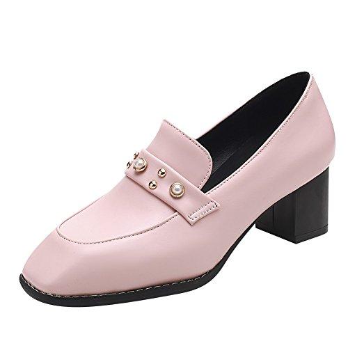 Bedel Voet Chique Dames Halflange Hak Vierkant Tenen Loafers Schoenen Roze