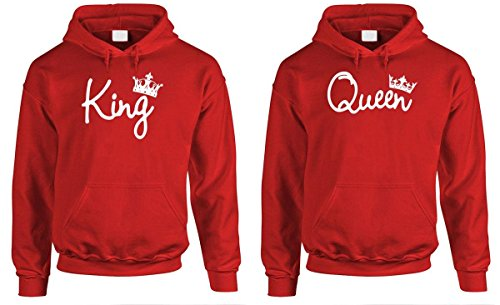 King Queen - Couples Two Hoodie Combo Pack, MED Left, MED Right, Red -