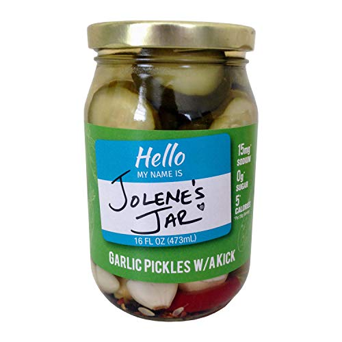 Jolene's Jar Pickles for Cocktails and Burgers Vegan Gluten Free and All Natural Made in Florida Sweet Pickles (Garlic Pickles with a Kick, 1 pack)